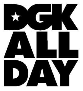 DGK All Day Logo Vinyl Sticker Decal White 6 Inch Arts