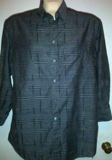 Luca di Marco size L large Italian gray plaid dress button collar