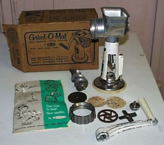 Vintage Rival Grind O Mat Meat Grinder Food Chopper 358 T Original Box