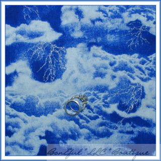BonEful Fabric FQ Vtg Harry Potter Blue White Glitter Lightening Storm