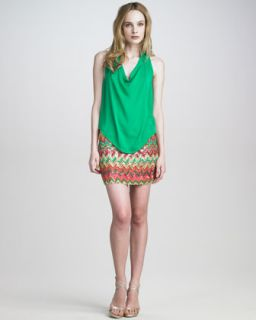 Haute Hippie Cowl Neck Blouse & Sequined Chevron Skirt