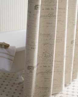 French Laundry Home French Stripe & French Script Shower Curtains