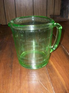 Vintage Hazel Atlas Green Depression Glass Quart 4 Cup Measuring Cup