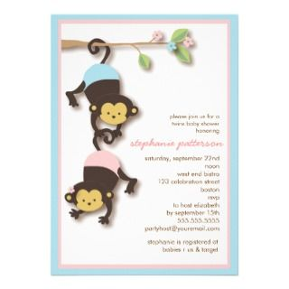 Modern Monkey Twin Girl & Boy Baby Shower Custom Announcements