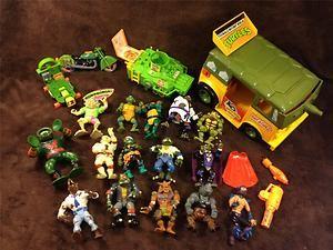 Lot of TMNT Teenage Mutant Ninja Turtles Toys Figures Turtle Van