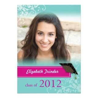 Grad 2012 Mod Teal Swirls Photo Graduation Party Custom Invite