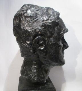 1964 HERMIONE SESSLER CABEZA DE HOMBRE PAINTED PLASTER ORIGINAL BUST