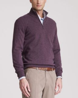 Brunello Cucinelli Two Ply Cashmere Half Zip Sweater, Mirtillo