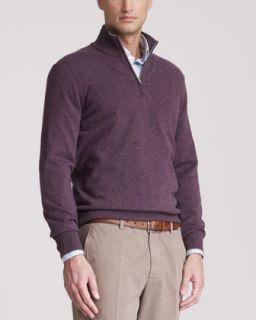 Brunello Cucinelli Two Ply Cashmere Half Zip Sweater, Mirtillo