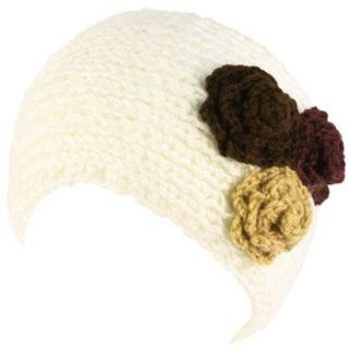 Adjustable Hand Knit Handmade Wide Headwrap Headband Ski White
