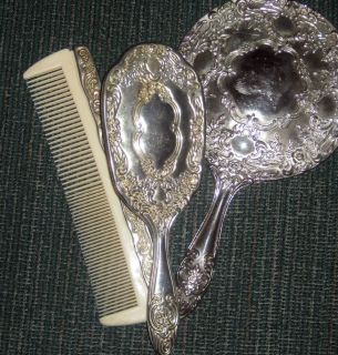 Silver Vintage Vanity Set Comb Brush and Mirror