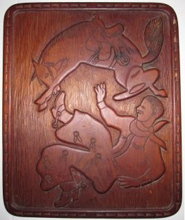VINTAGE COWBOY RODEO WESTERN AMERICAN FOLK ART CARVING SPURS BRONCIN