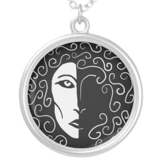 Shadowy Black and White Woman Necklace