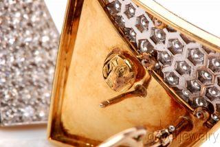 Oscar Heyman Large 8 20cts Diamond Platinum 18K Gold Clip Earrings