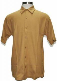 Hawaiian Tropic Camp Style Button Front Camel Golf Shirt Medium New