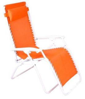 New Zero Gravity Patio Lawn Chair White Frame Orange