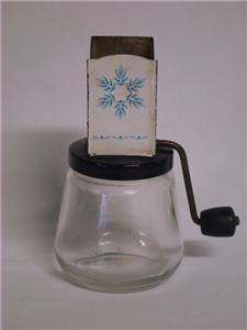 Vintage Androck Spice Nut Grinder Chopper Hand Crank Blue Leaf Design