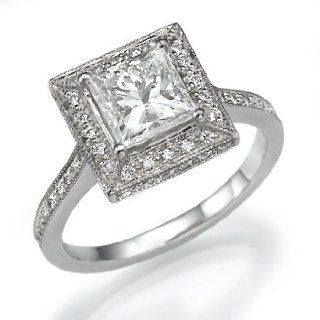 18k White Gold Engagement Ring with Princess Cut Center Stone and Thin
