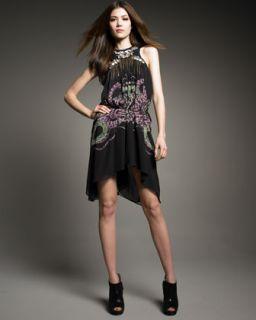 Roberto Cavalli Snake Print Silk Racerback Dress