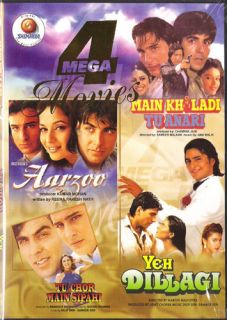 HINDI INDIAN 4 MOVIES AARZOO,YEH DILLAGI,MAIN KHILADI TU ANARI,