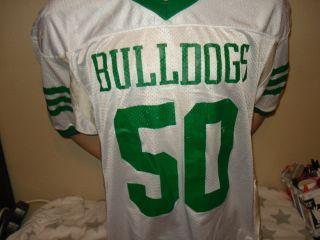 used BULLDOGS high school football jersey green white 46 l ALBUQUERQUE