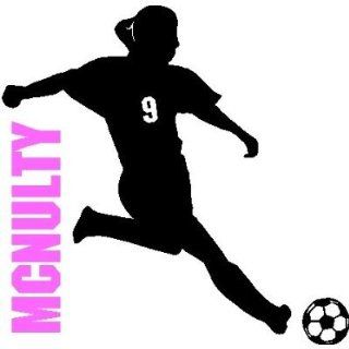 SOCCER GIRL WITH CUSTOM NAME/NUMBER.WALL ART STICKERS