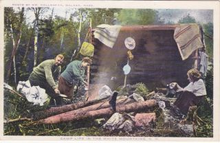 White mountains New Hampshire camp life vintage campers postcard