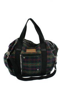 Harajuku Lovers Green Flannel Plaid Weekender Handbag Extra Large BHFO