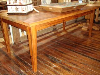 Reclaimed Antique Heart Pine Factory Floor Wood Table Desk Tapered