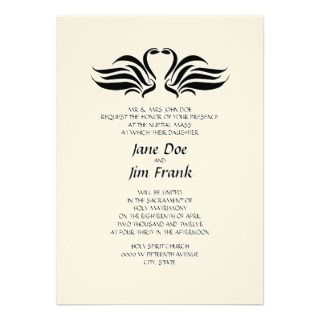 Swans Formal Catholic Wedding Invitation