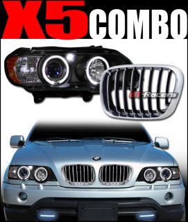 BLACK HALO LED PROJECTOR HEAD LIGHTS YD FRONT HOOD GRILL GRILLE BC 01