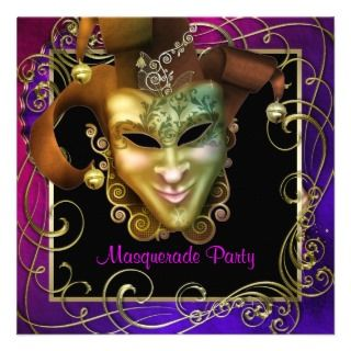 Hot Pink Purple Gold Masquerade Party Invitations