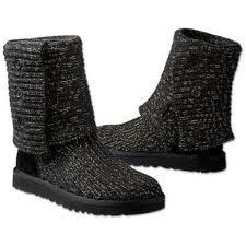 Ugg Australia Women Classic Cardy Tall Knit Boots Black Metallic Gold