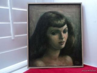 Portrait Beautiful WOMAN 1940s Art DECO Original Oil by Helen Seydel