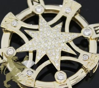 14k Yellow Gold Round Diamond Compass Pendant Mens