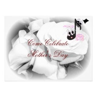 White Roses Music Note Mothers Day Invitations