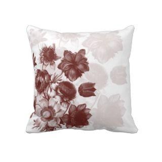 Maroon Elegant Flower Custom Pillows