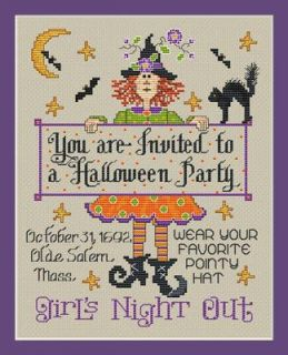 Sue Hillis Designs Halloween Party Cross Stitch Chart Pattern New