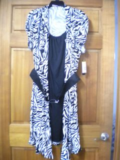 Heart Soul Womens Plus Size 3X Zebra 2 in 1 Little Black Belted Dress
