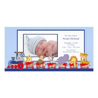 Jungle Animals Train Baby Boy Birth Annoucement Photo Greeting Card