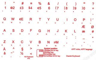 Danish Keyboard Stickers for Computer Laptop Transp Red