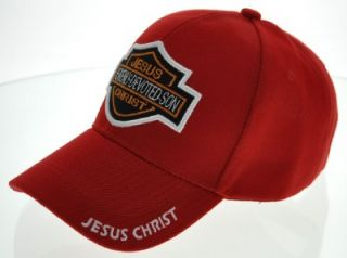 HEAVENLY DEVOTED SON JESUS CHRIST HARLEY DAVIDSON BALL CAP HAT RED