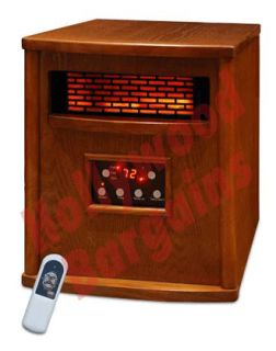Infrared Quartz Heater 4 Element Heats 1500 sq/ft LS 4W1500 X LED Oak