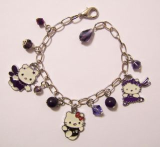 Hello Kitty Bracelet with 3 enamel kitty charms, crystal and gemstone