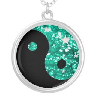 Yin yang jade glitter necklace