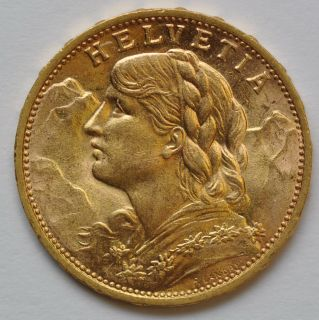1930 Helvetia Switzerland 20 Franc Gold Coin