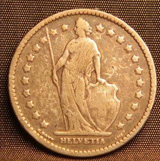 1909B Swiss 1 Franc Helvetia Silver Coin