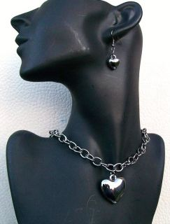 Hematite Silver Finish Heart Love Earring Necklace Gift Fashion