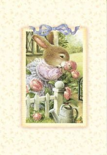 Holly Pond Hill Bunny Rabbit Pink Flower Thinking Of You Greeting Card