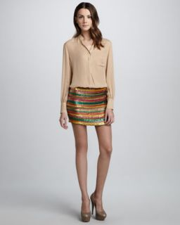 43WK Haute Hippie Long Sleeve Silk Blouse & Sequined Striped Skirt